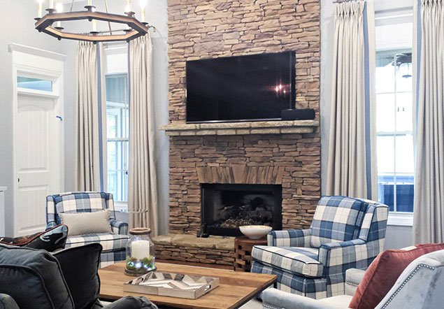 Chimney Stone Living room and fireplace interior design