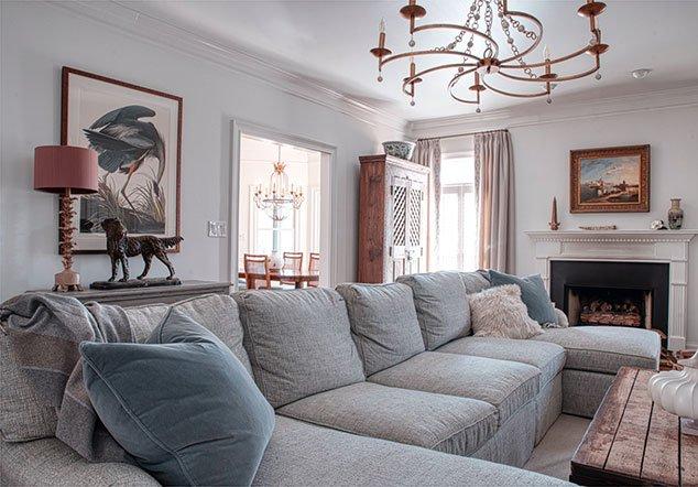 Tanglebrook Living area and fireplace interior design