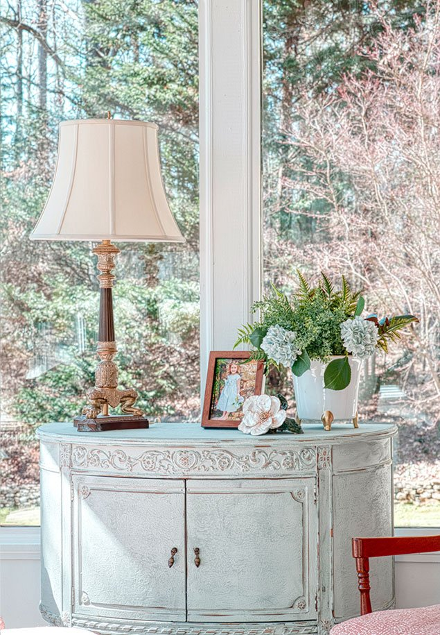Tanglebrook lampshade and table interior design