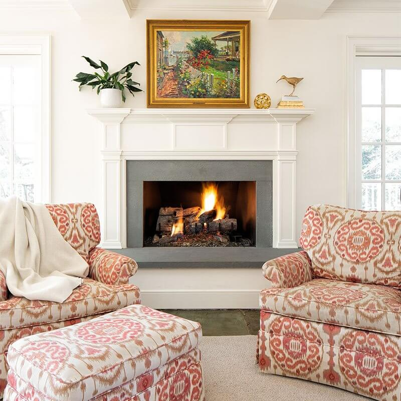 Three Chopt Road fireplace area setup for interior design