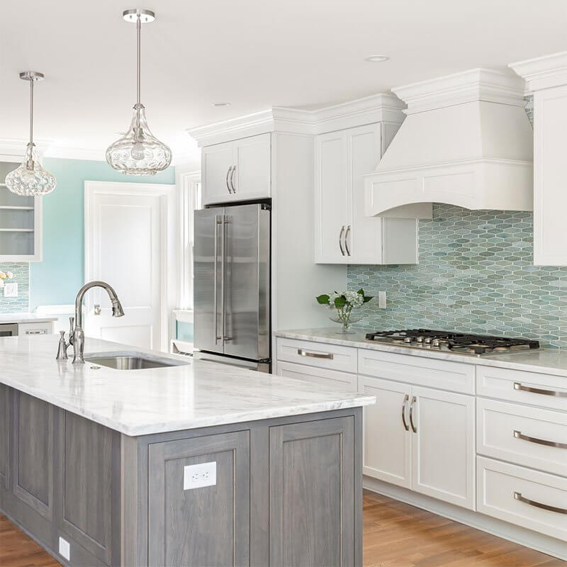 Willow Lawn White and wood motif kitchen interior design