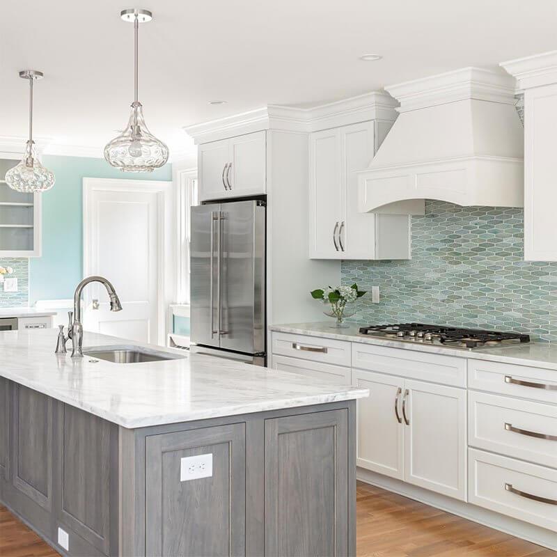 Willow Lawn White and wood motif kitchen interior design